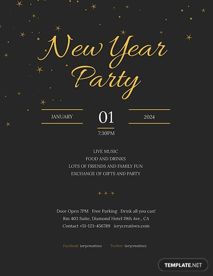 minimal holiday party flyer layout