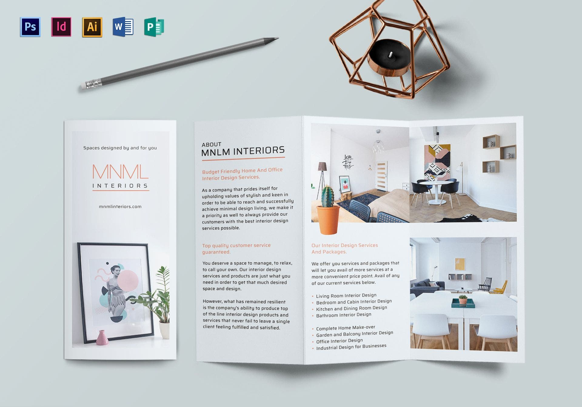 minimal interior trifold brochure template