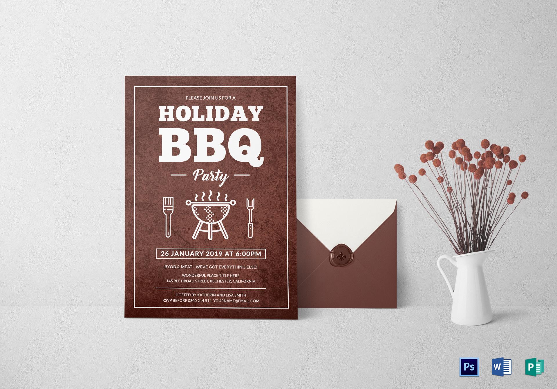 minimalist holiday bbq party invitation