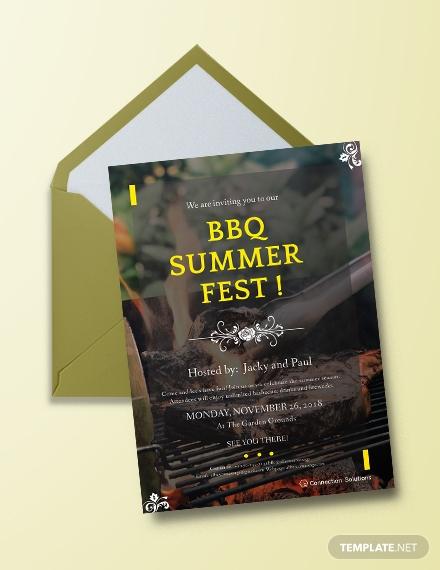 modern bbq summer festival invitation