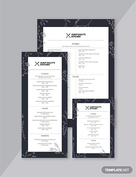 modern birthday kitchen menu layout