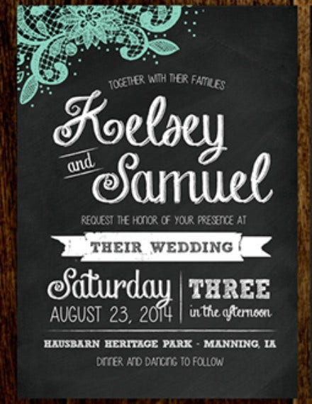 modern theme chalkboard wedding invitation