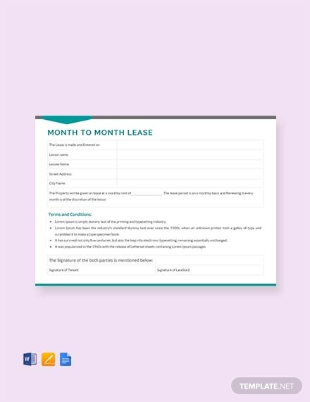 month to month lease template 1