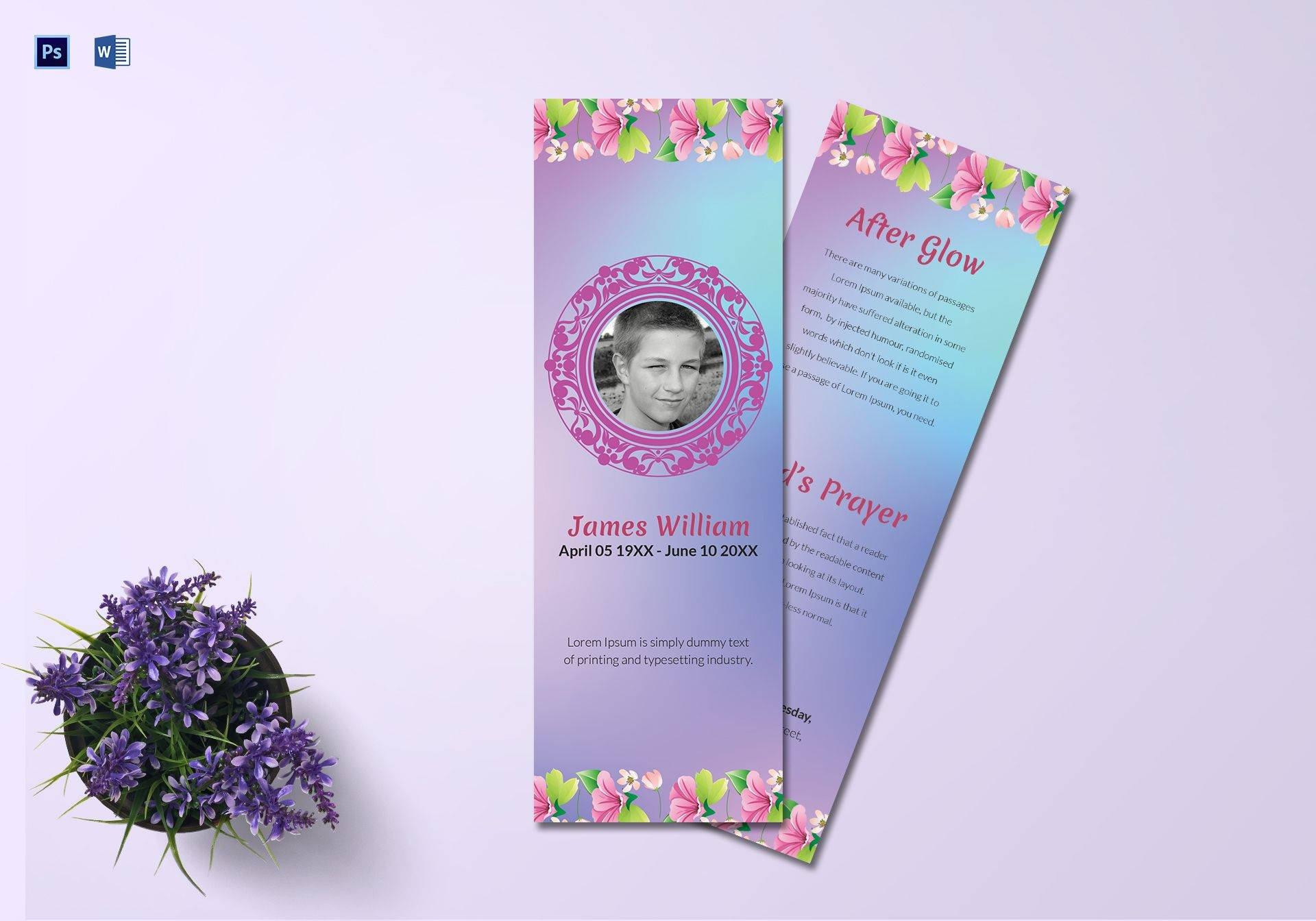 obituary memorial bookmark