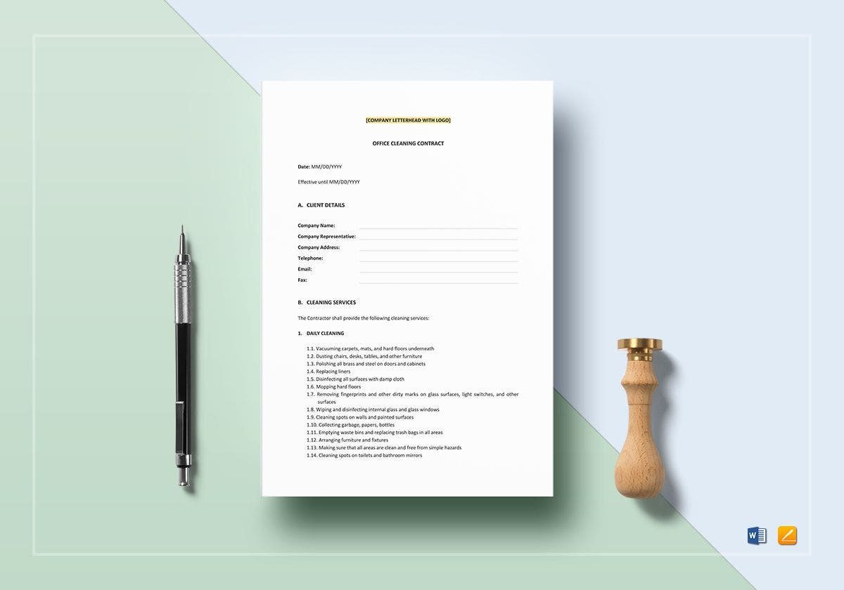 office cleaning contract template mockup