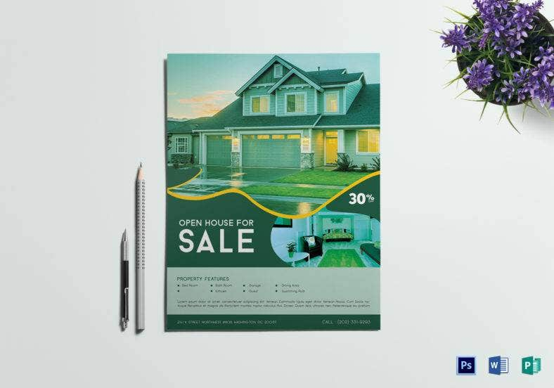 open house sale flyer template 788x552