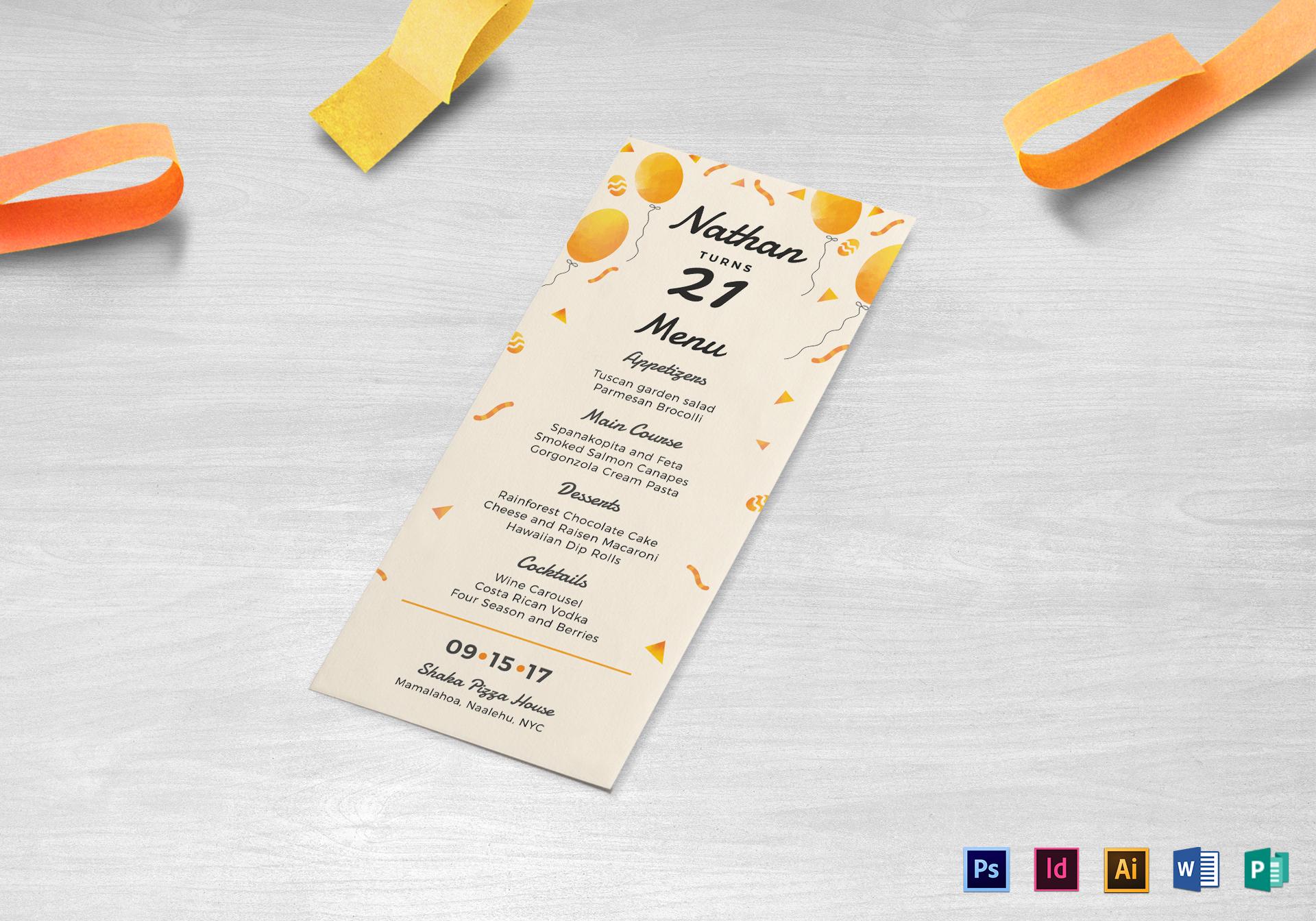 orange balloons birthday party menu