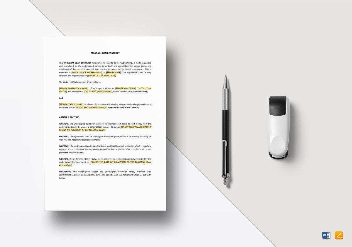personal loan contract mockup