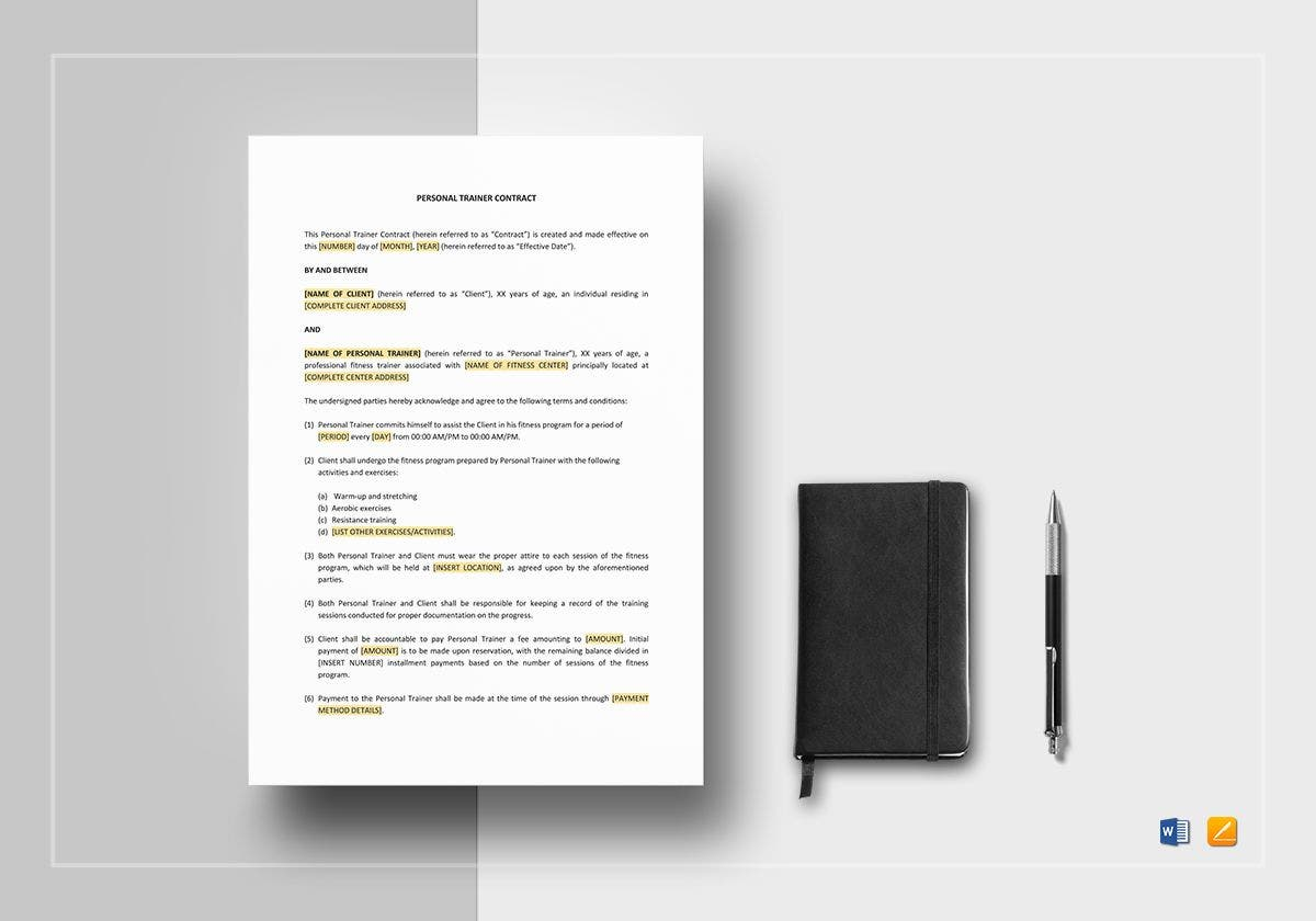 personal trainer contract mockup