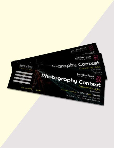 photography raffle ticket template