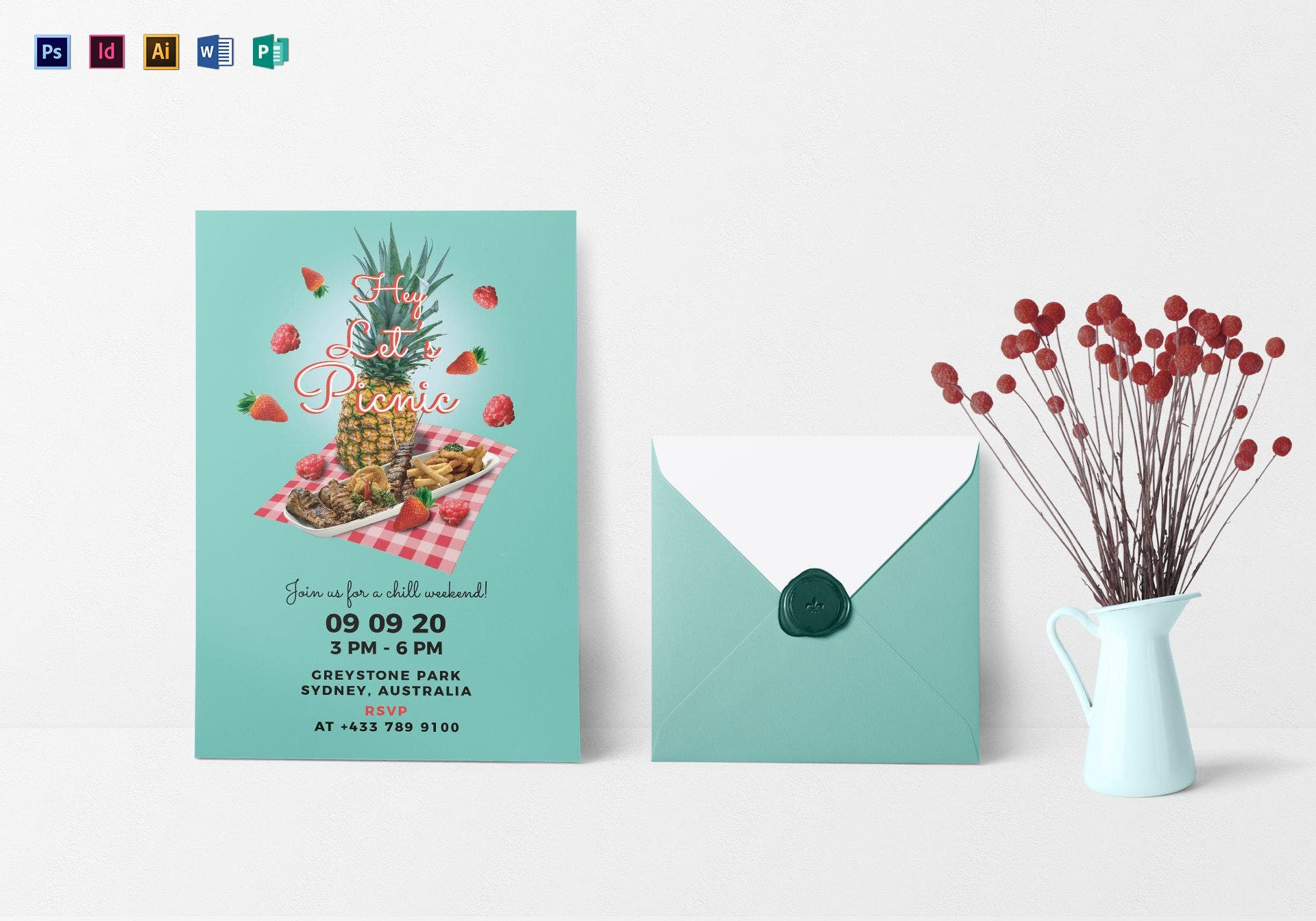 pineapple picnic party invitation sample