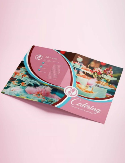 pink catering bifold brochure template
