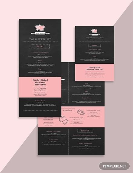 pink minimal bakery menu layout