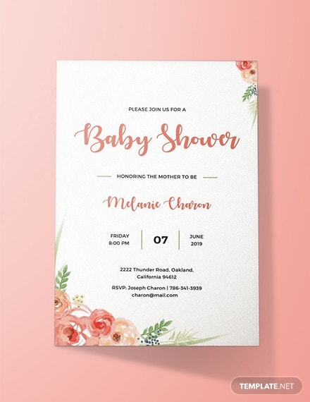 pink roses baby shower invitation