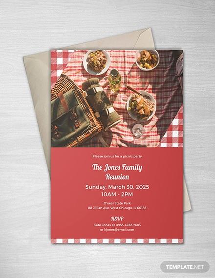 plaid picnic party invitation design