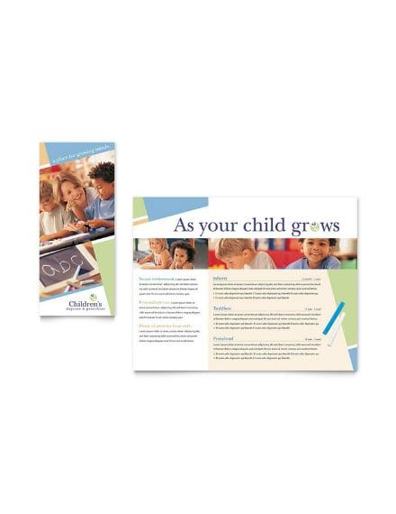 preschool day care brochure layout
