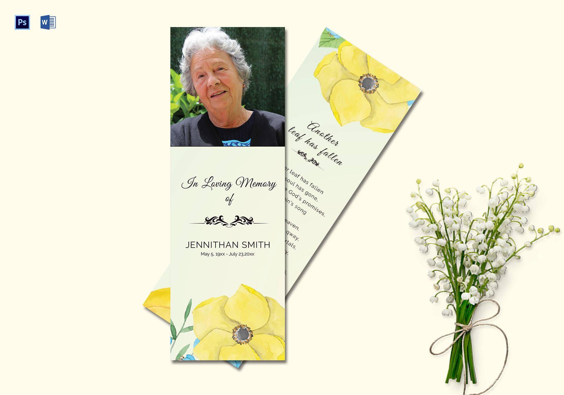 printable funeral bookmark template