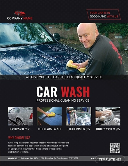 professional car wash flyer template 1x