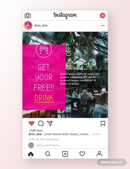 restaurant instagram ad template psd