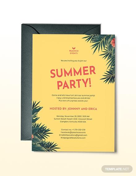 retro summer party invitation format
