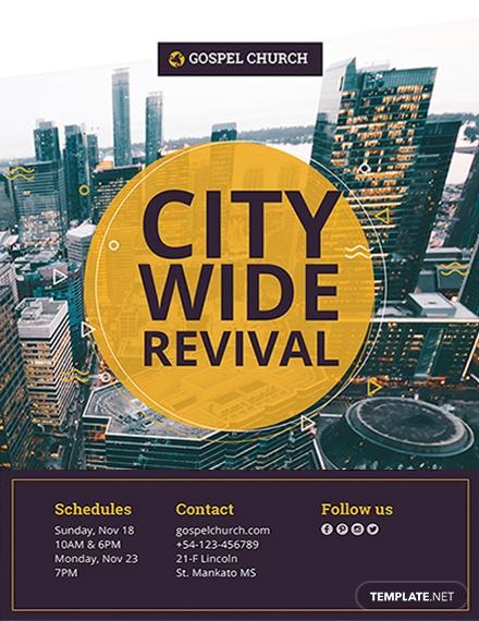 revival city church flyer design