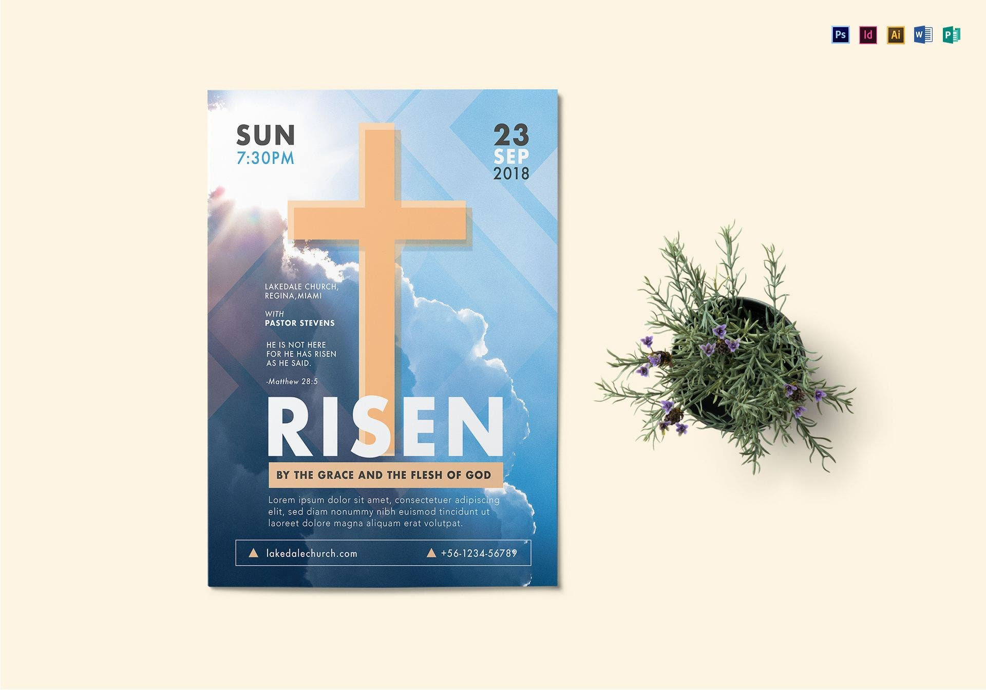 risen god church flyer template