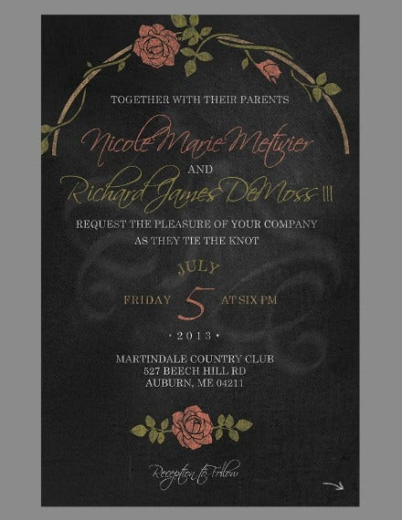 roses chalkboard wedding invitation design