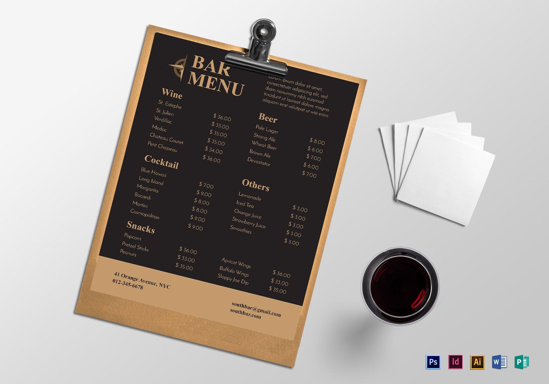 sample bar menu mockup 1