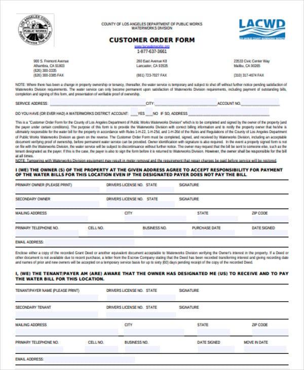 sample customer order form