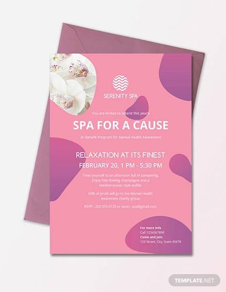 sample spa invitation design