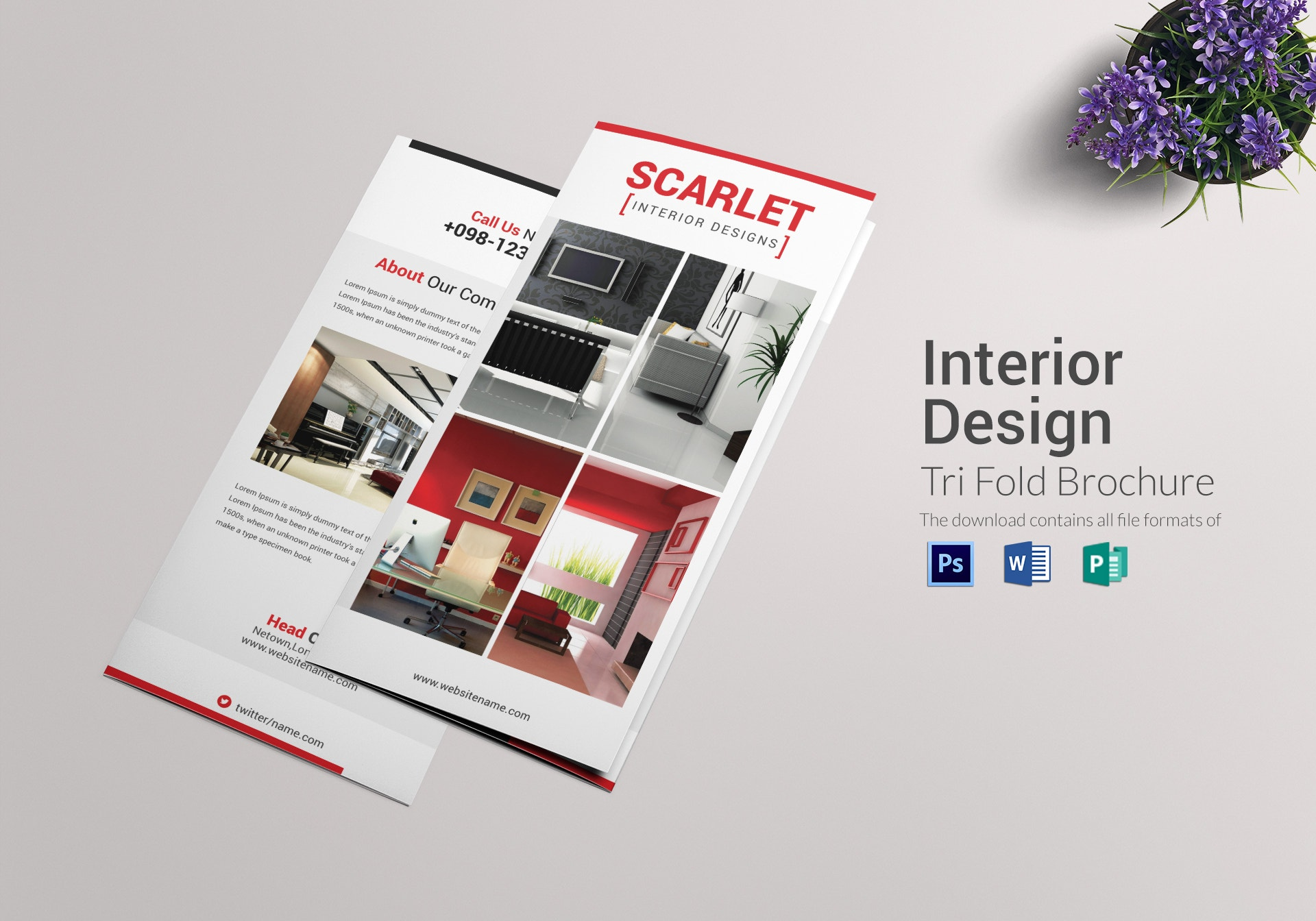 scarlet trifold interior design brochure