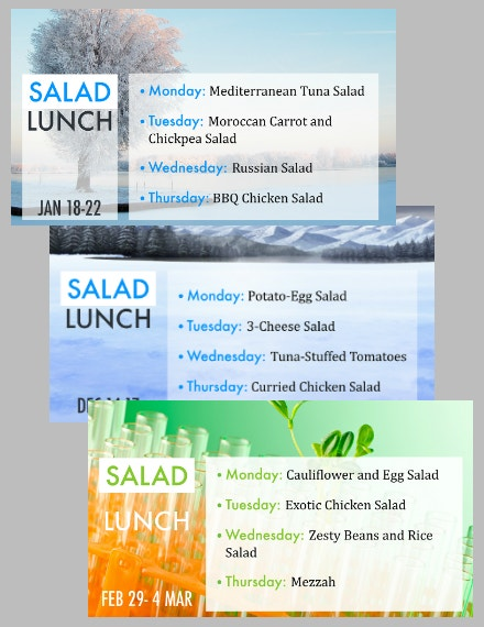 School Lunch Meal Menu Example