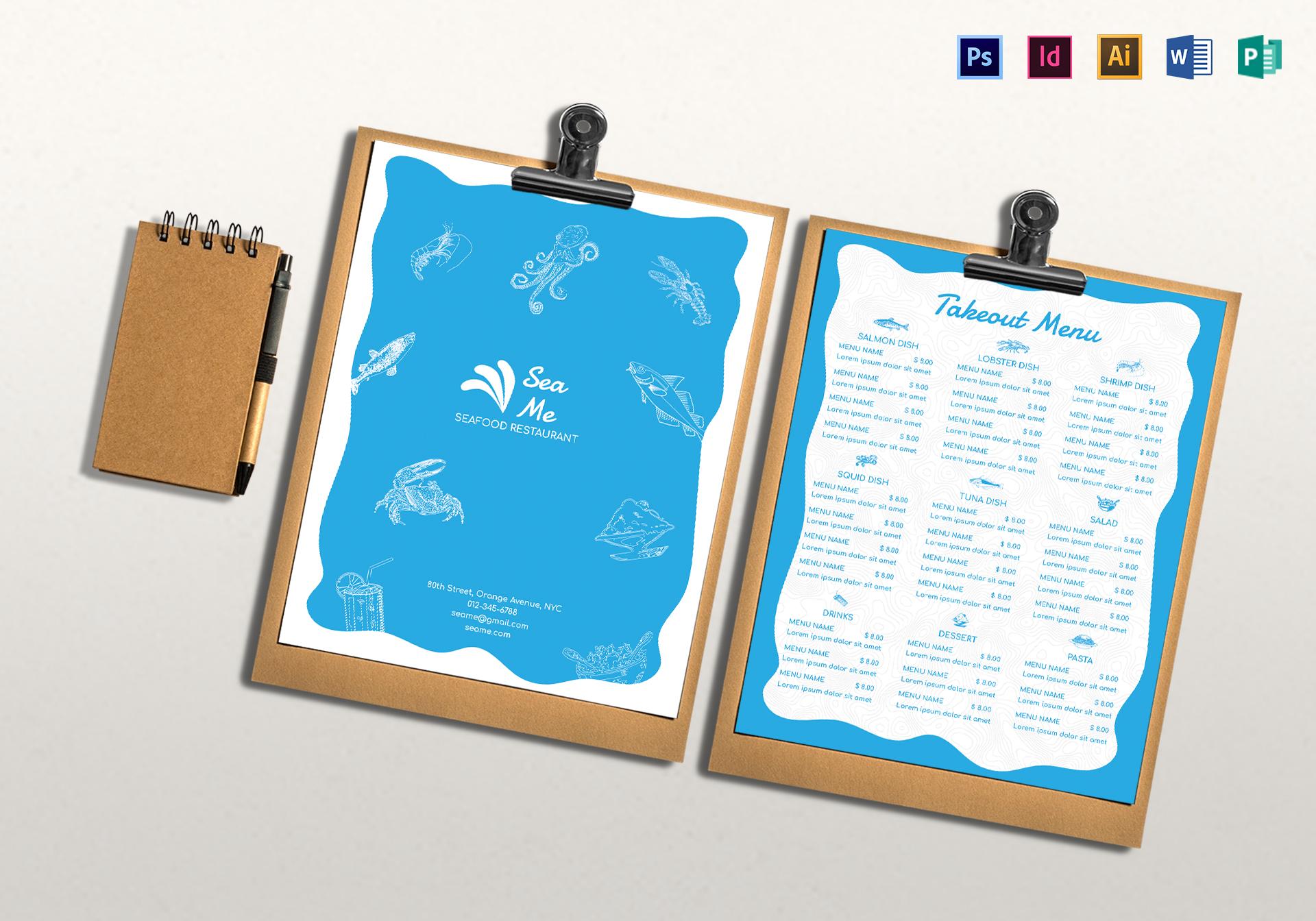 seafood takeout menu card layout