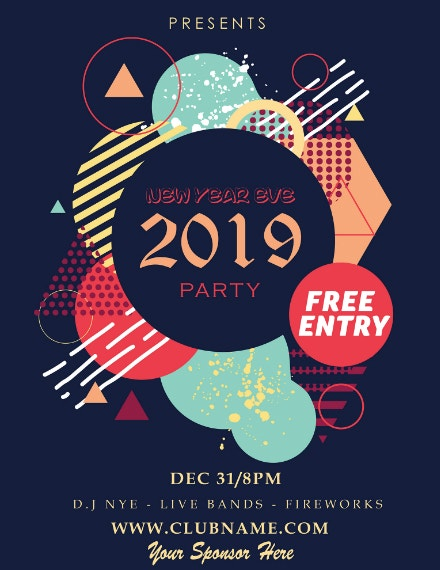 shapes new year party poster