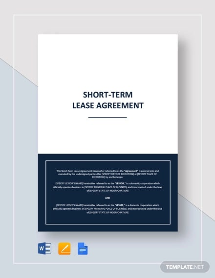 short term lease agreement template