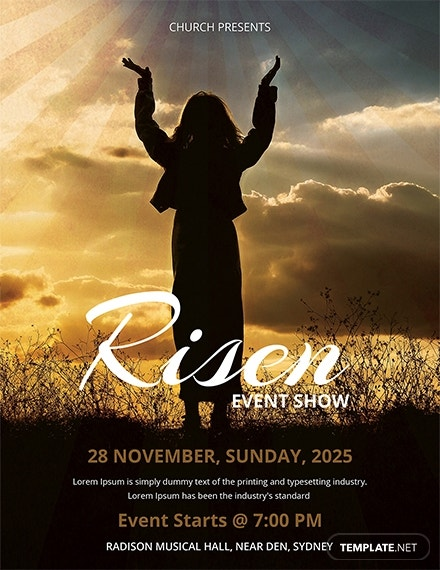 silhouette risen church flyer design