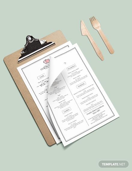 simple bakery menu card design