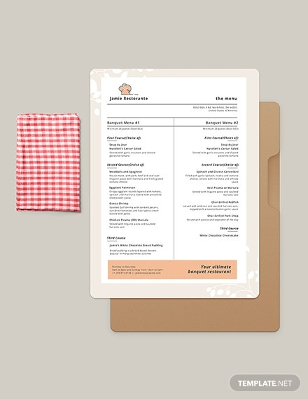 simple banquet menu card sample