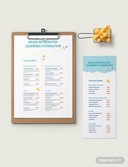 simple preschool food menu format