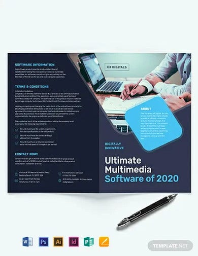 software company bi fold brochure template