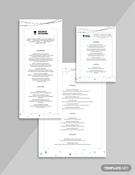 special minimalist birthday menu format