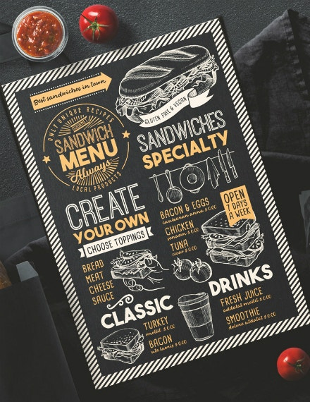 Specialty Sandwiches Chalkboard Menu Sample