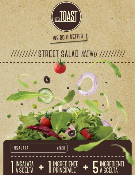 Street Salad Menu Card Template