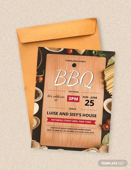 summer bbq party invitation layout