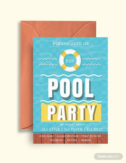 swimming pool party invitation sample