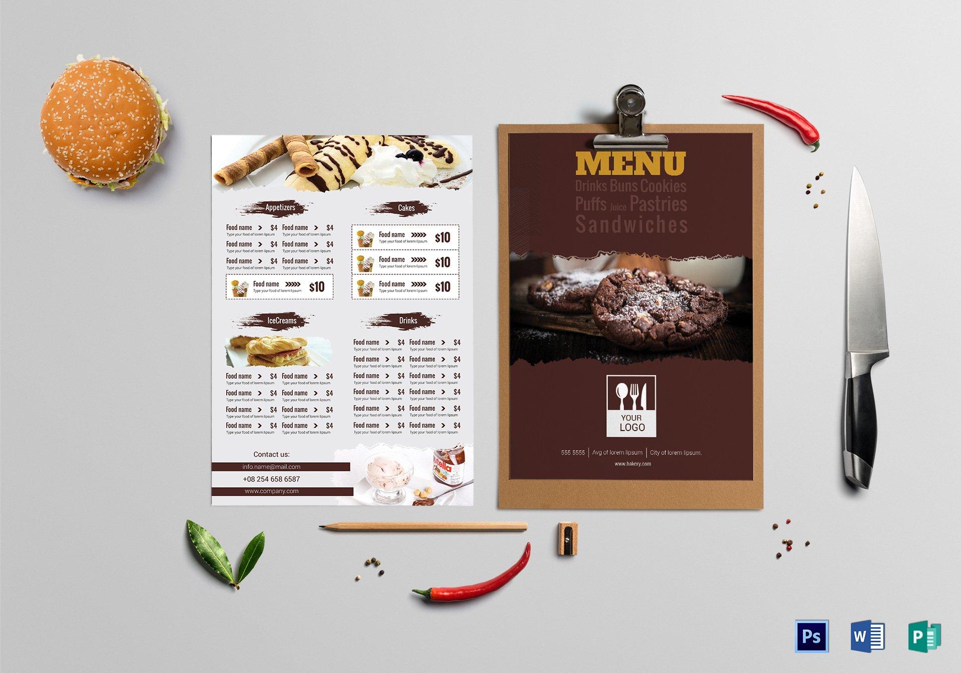 tasty bakery menu card template