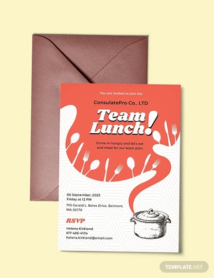 team lunch invitation template