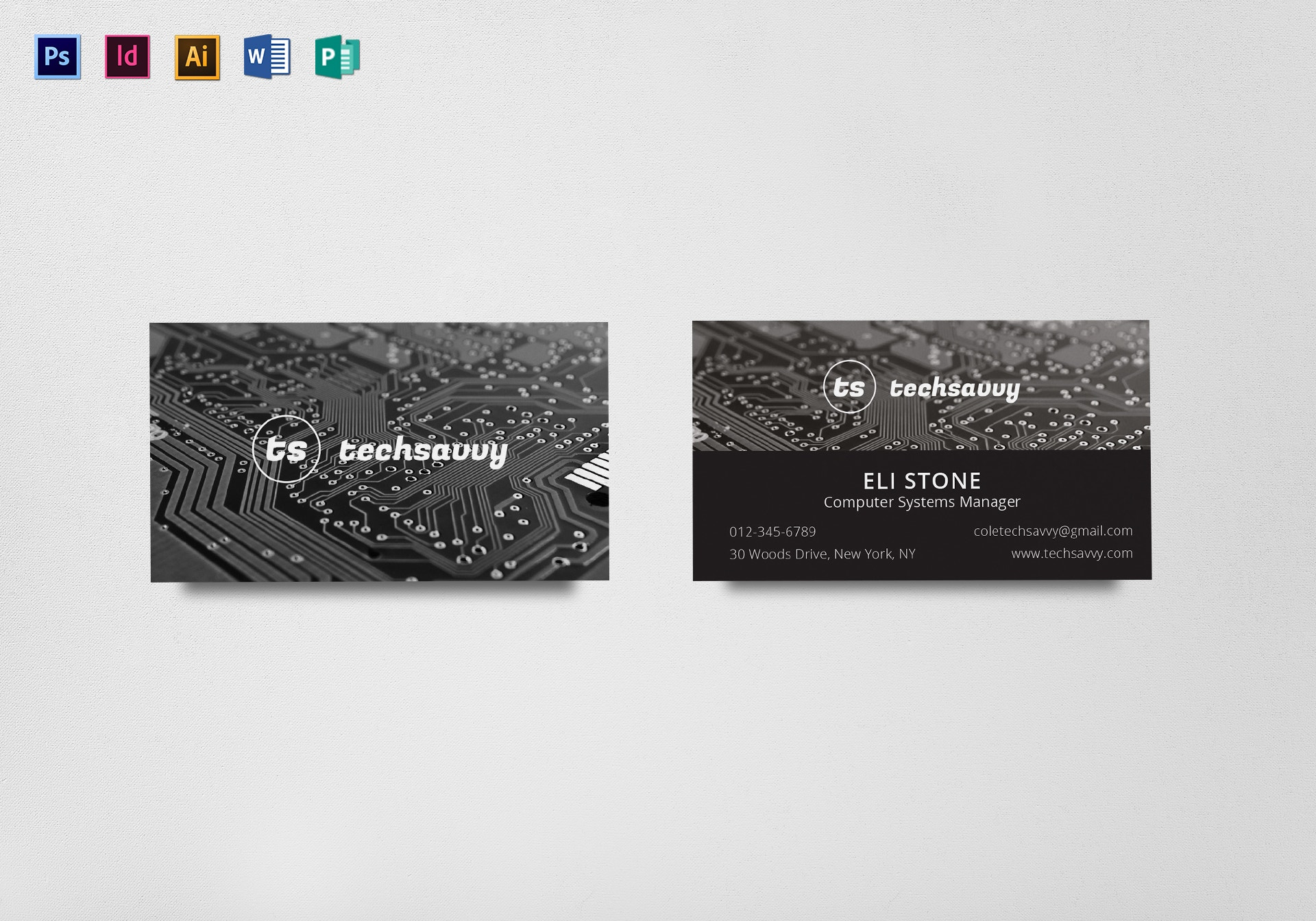 tech savvy business card example