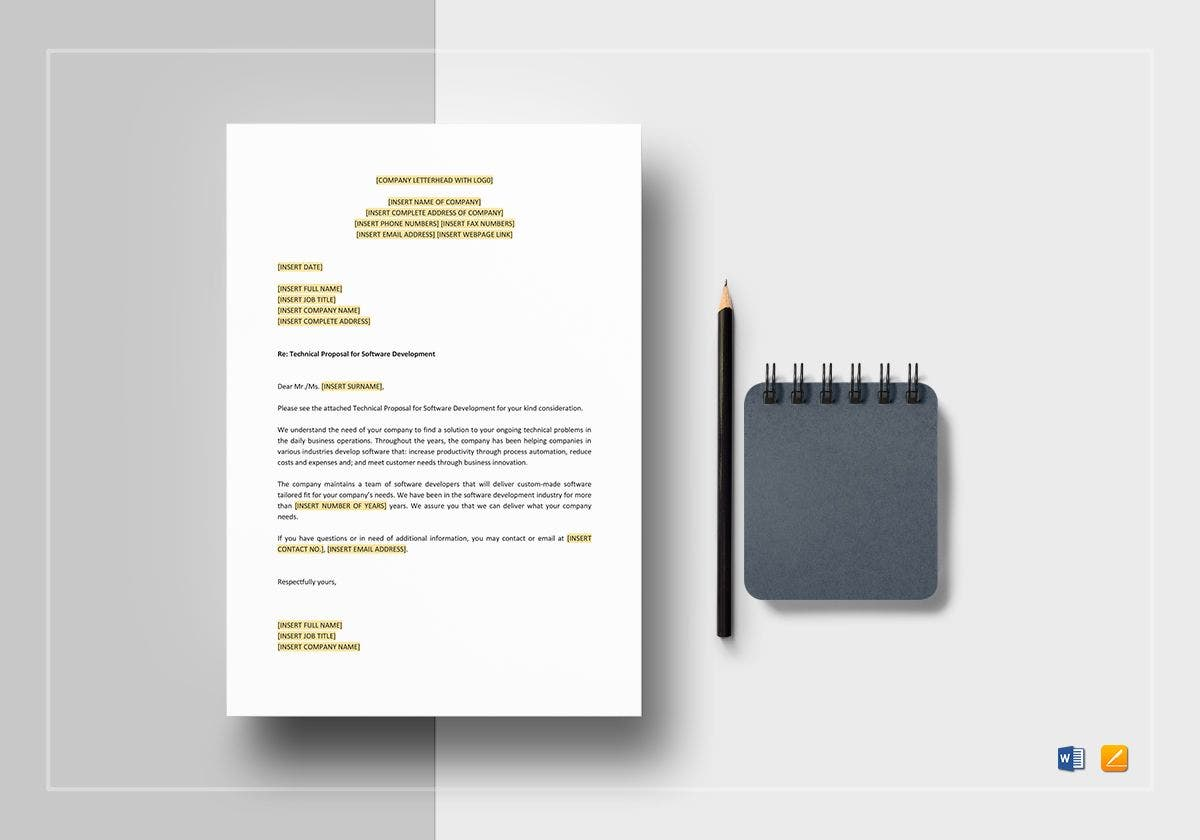 technical proposal for software development mockup