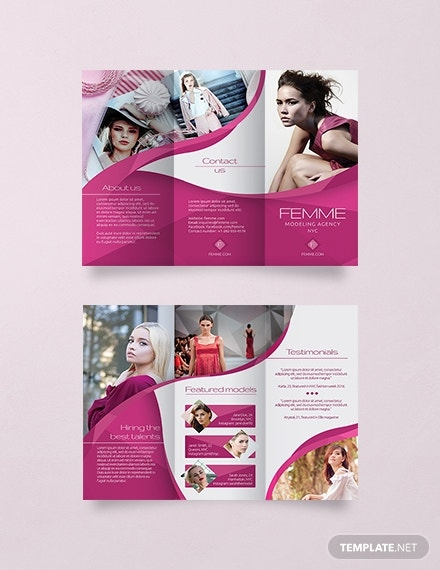 trifold modeling agency brochure example